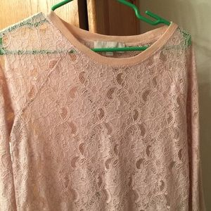 LOFT Blush Lacey Long-Sleeved Top - Small